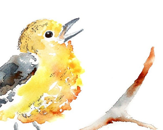 bird art, yellow childrens decor, art for kids room, Watercolor print, whimsical bird - Puff of Song 8x10 print