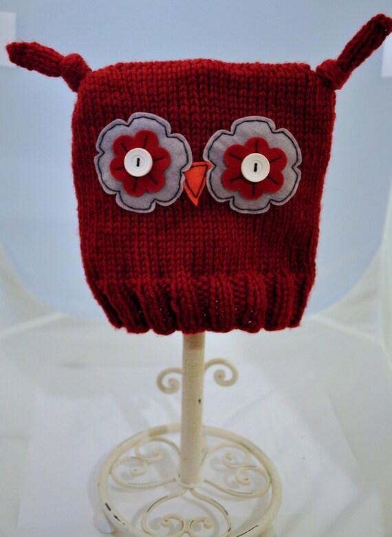 Ollie Owl Hat - Toddler Sized, Dark Red