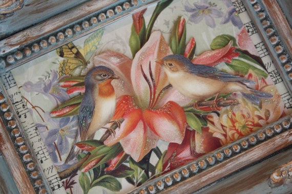 French Song Bird Embellished Picture Frame