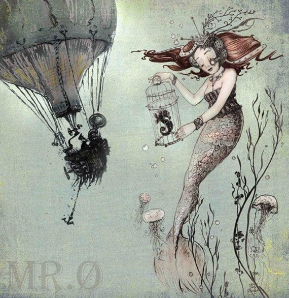 Mermaid & Seahorse - 7x7 Fine Art PRINT - Steampunk Fairy Tale Illustration