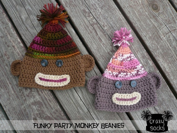 PATTERN - Funky Party Monkey Beanie