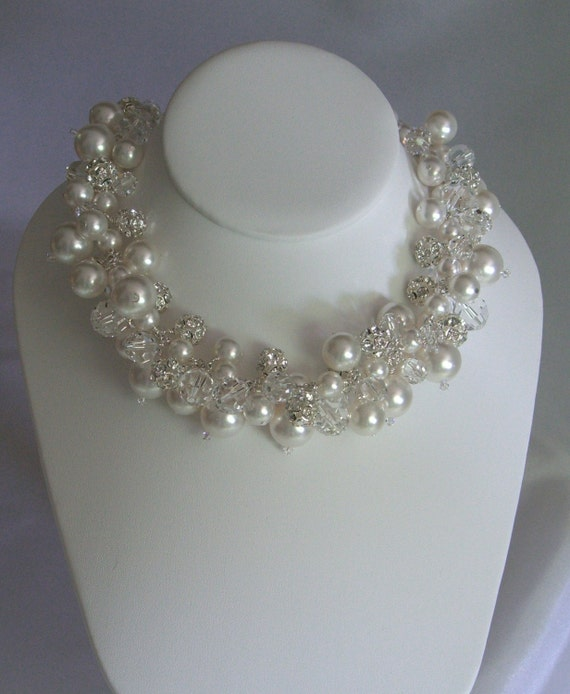 Lillian Necklace,  Bridal, Wedding, Jewelry, Chunky, Cluster, Swarovski pearls, Swarovski crystals, rhinestone fireballs,