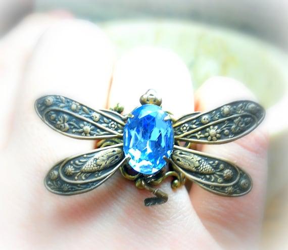 Blue Lagoon - Victorian Dragonfly Filigree - Vintage Estate Rhinestone Cocktail Ring Adjustable