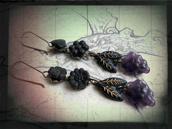 Vitis Vinifera. Antique Jet Stones Czech Glass and Grapes.