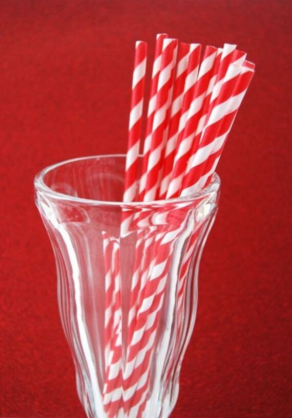 Red and White Paper Straws and Sprinkles