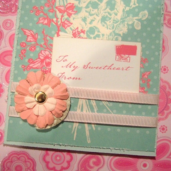 To My Sweetheart From Love Valentine's Day Card Handmade Shabby Chic