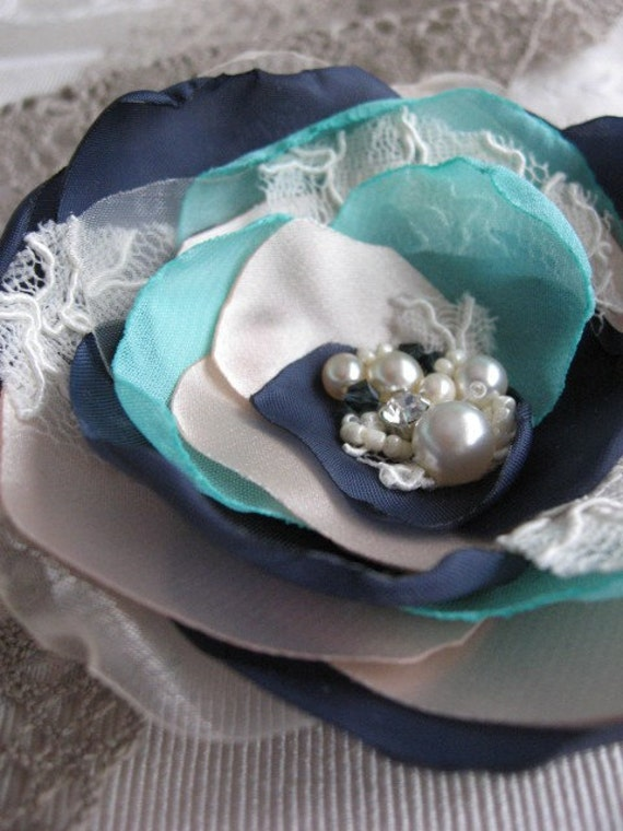 Hair pin and brooch (2 in 1)Champagne/pale beige,Tiffany blue,Navy, Ivory lace Flower Rose, rhinestone