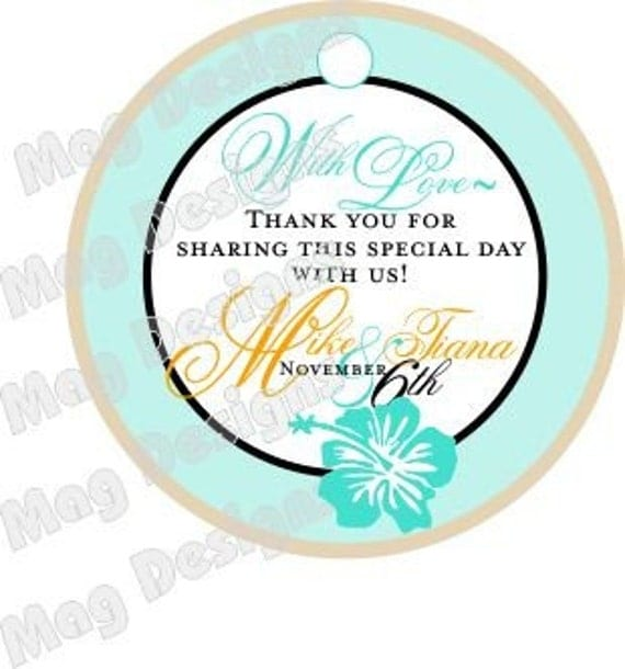 50 Hawaiian Flower 2 inch Round Beach Wedding Thank you tags for gifts, wine bottles, favors