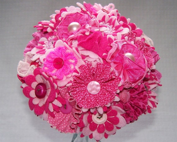 Pink and White Button Satin Wedding Bouquet