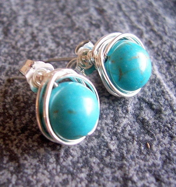 Turquoise and sterling silver wire wrapped post earrings