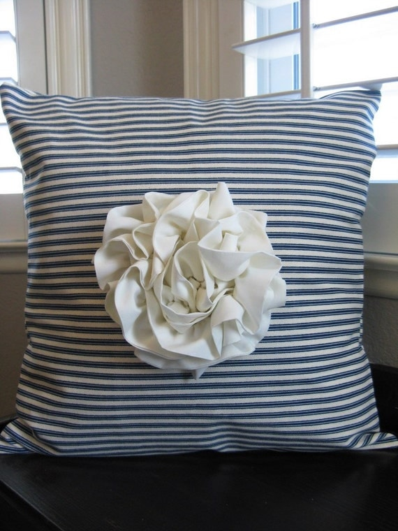 The Olivia - Navy Ticking Cream Ruffled Rosette Pillow Cover - Custom Available
