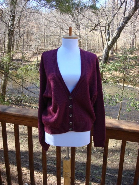 vintage 80s BERRY sweater cardigan