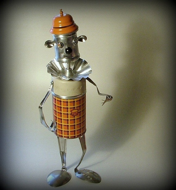 Vintage Thermos Robot Art Sculpture - I Love You More Than Plaid