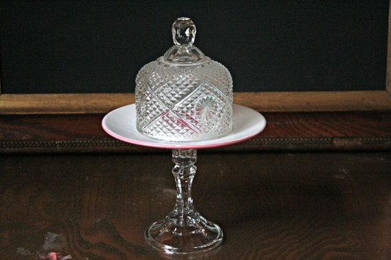 Mini cake stand with dome, cupcake stand or display pedestal- Hidden Heart