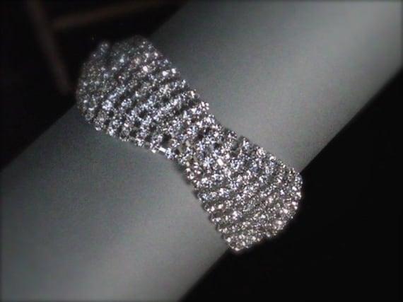 Resplendent Old Hollywood Bracelet - Bridal Rhinestones Bracelet - Supper Sparkly