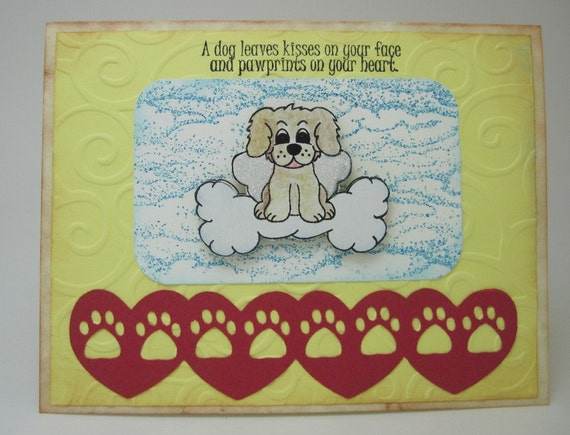 Handmade Loss of Dog Sympathy Pet Card - Paws in Hearts - Donation to help animals