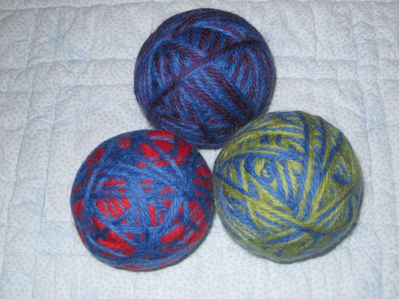 "Wool Felted Dryer Balls - the ""...and blue"" set of 3, fun scents available, FREE shipping"