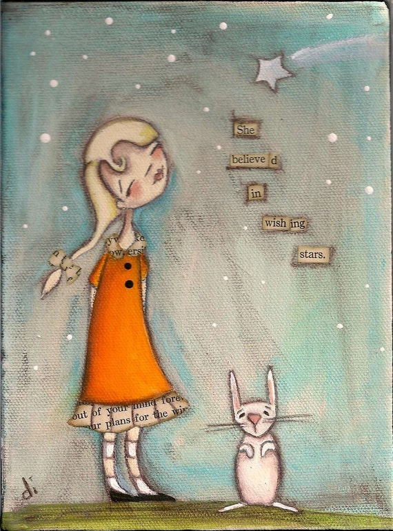 PRINT Of my original folk art painting - She Believed in Wishing Stars - Duda Daze