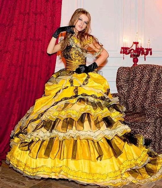 Yellow Wedding Dress Gothic Theme Ballgown Masquerade