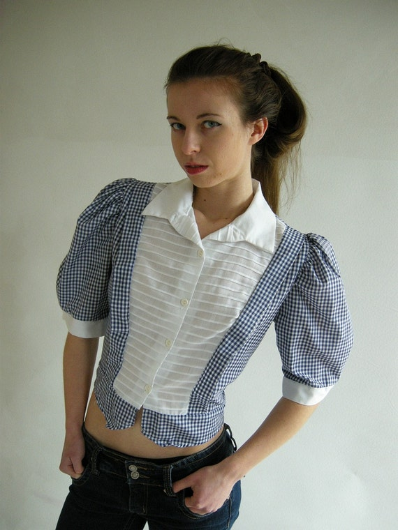 Blue White Gingham Cropped Vintage 80s Top Blouse M by empressjade