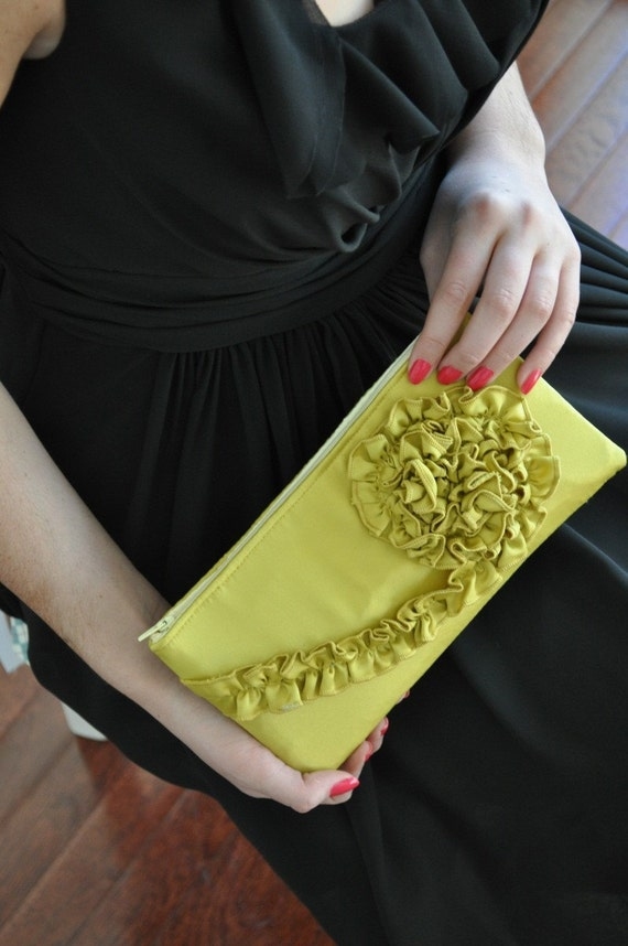 Clutch - The Kimberly Clutch - Citron Satin
