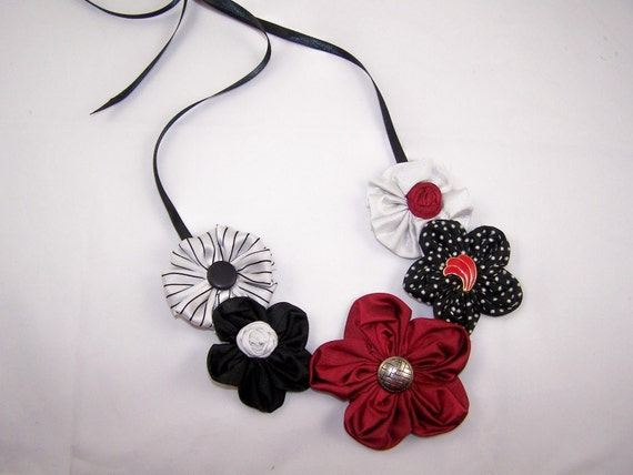 Ruby Tuesday Flower Cluster Necklace with Vintage Earrings and Buttons