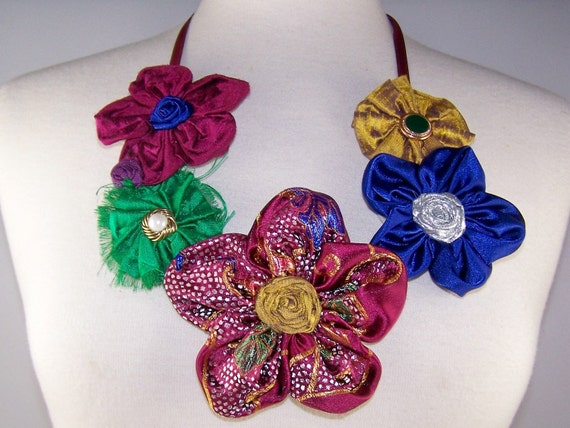 Jewel Toned Flower Cluster Necklace with Vintage Earrings and Buttons