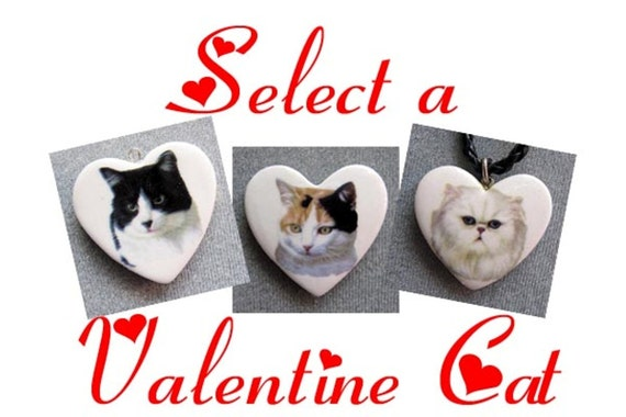 valentine cat heart pendants