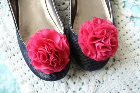Miss Kristina - Fuchsia Pink Ruffle Flower Shoe Clips