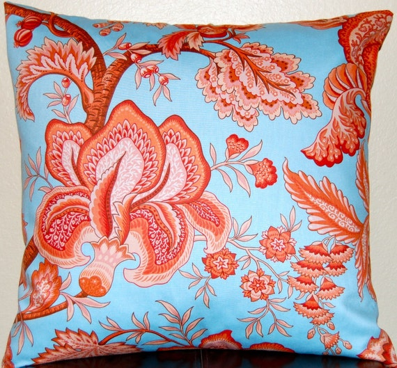 Floral Pillows Blue and Coral Throw Pillow Covers  20 x 20 Inches