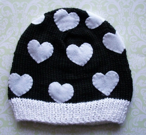 WHITE HEARTS Baby Beane-Newborn Size -Made to order only