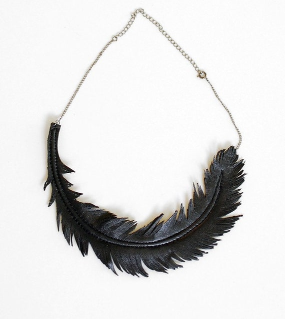 Black Feather Necklace - Black Leather and Gunmetal Chain
