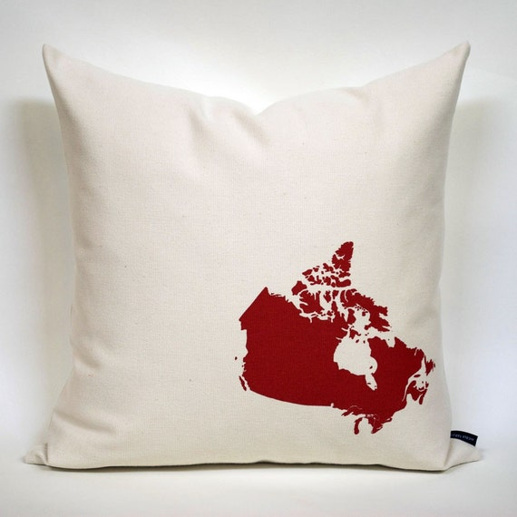 Map of Canada Pillow Cover in Off-White