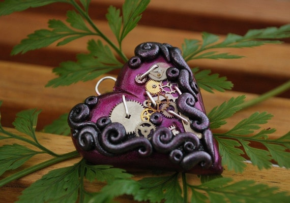 Steampunk Heart Pendant, Grape