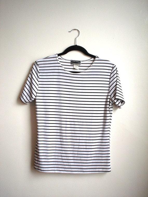 Slinky Striped Black and White Stretch Tee