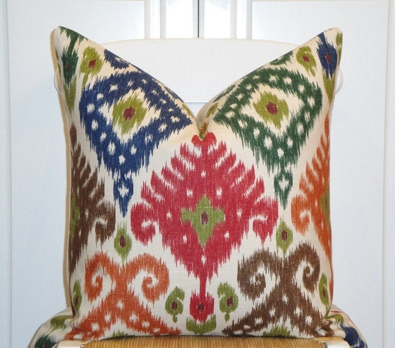 Decorative Pillow Cover 20 x 20 INCH - Designer Fabric - IKAT Pattern - Throw Pillow - Accent Pillow - Multi Colors