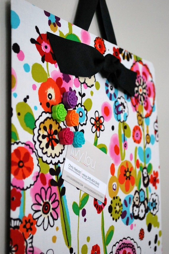 """Fabric Covered Magnet Board (12"""" x 24"""") Fun Flowers"""