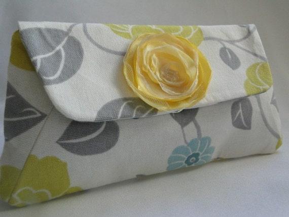 clutch gray yellow blue  print fabric flower w