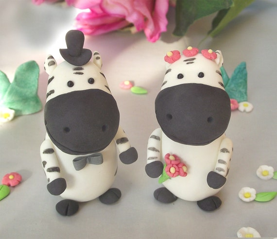PROMO PRICE- Lovely Zebra wedding cake toppers  - small size
