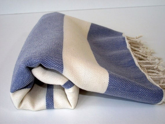 Best Quality Hand - Woven Turkish Cotton Bath Towel or Sarong-Natural Cream and Navy Blue