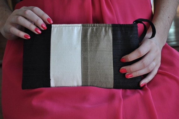 Clutch - The Amy Clutch - Black, Bronze and Ivory
