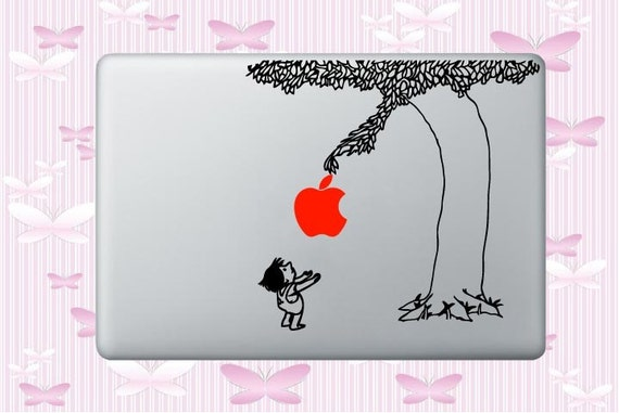Black Giving Tree with RED Apple Decal for MacBook Wrap Skin Sticker All Sizes avail.