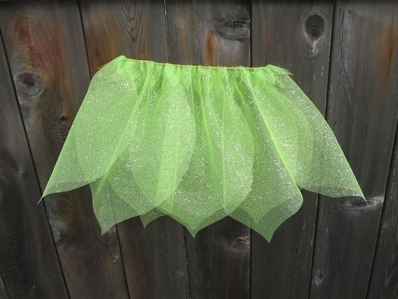 Flower Petal Fairy Skirt- Green Sparkel-Size S