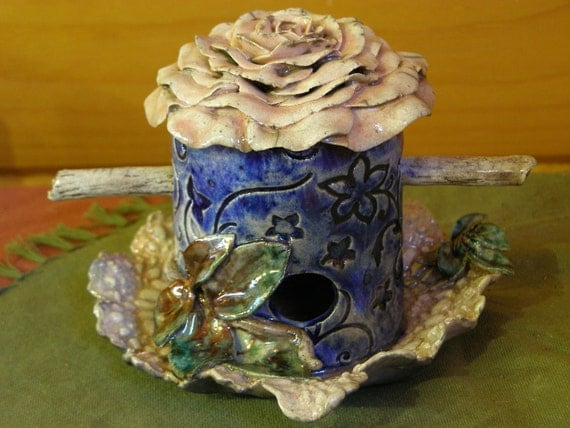 "Romantic ""Antique Rose""  -A Unique Raku Birdhouse by Jarita"