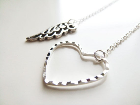 Love at First Flight Necklace  Silver by petitehermine on Etsy
