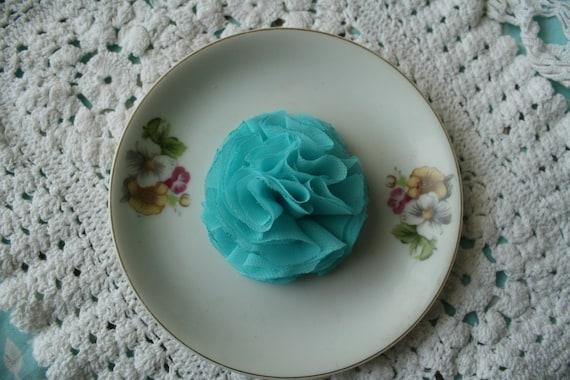 Miss Kristina -Aqua Ruffle Flower Hair Clip