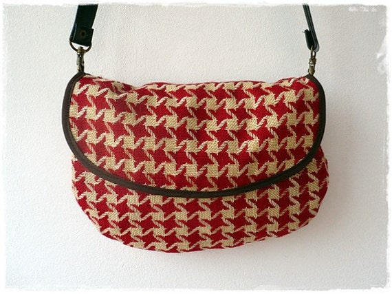 Recycled deep red and cream houndstooth bedcover hip bag