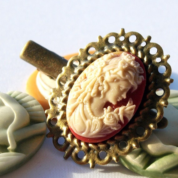 Shell Victorian Aristocratic Cameo Hair Clip Woman by glamasaurus wedding