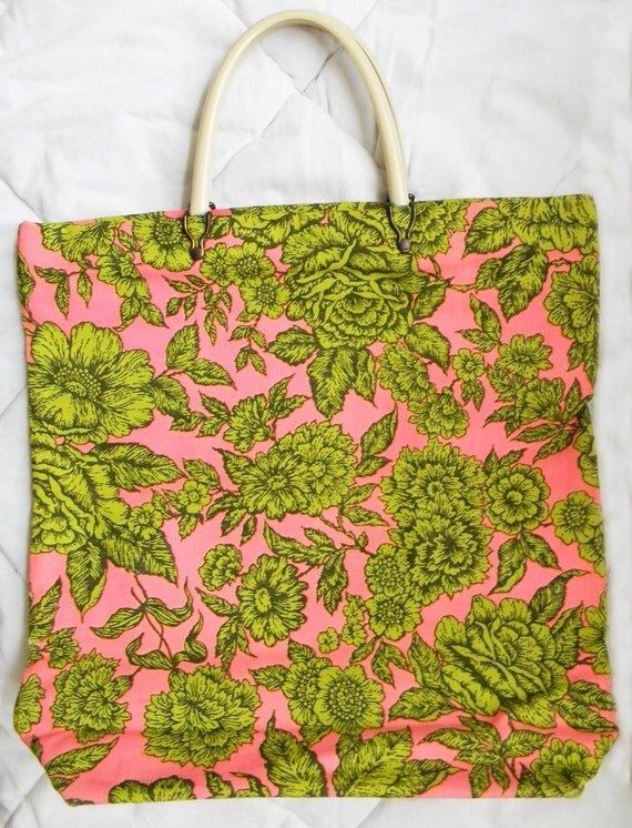 1960s Flower Tote Bag Vintage