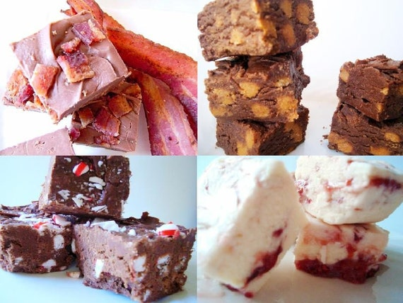 VACATION SALE Julie's Fudge - It's A Dream Sampler Pack - 3 pieces each, 4 kinds - 1 Pound Total